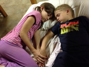 Sweet Hannah and Titus during rehearsal! Sleeping in Caleb's bed